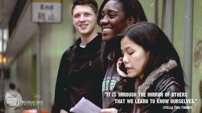 David, Mercedes and Yan exploring together Hong Kong in The Dialogue.